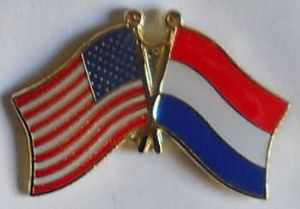 USA and Holland Friendship Flag Pin Badge